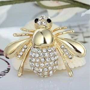 Gold Bumble Bee Pin Brooch Crystal Insect Bling